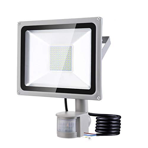 100W Faretto LED da Esterno con Sensore di Movimento 10000LM IP65 Impermeabile Faro LED Bianca Fredda 6500K Illuminazione per Giardino Corridoio Garage Parcheggio [Classe di efficienza energetica A+]