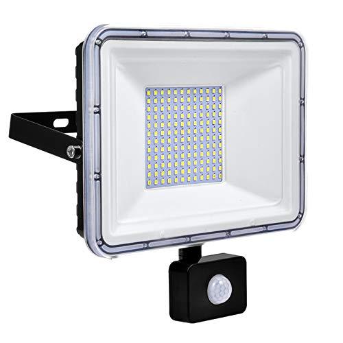 100W Faretto LED da Esterno con Sensore di Movimento IP67 Impermeabile Faro LED 10000LM 6500K Bianca Fredda per Giardino Garage Parcheggio Corridoio [Classe di efficienza energetica A++]