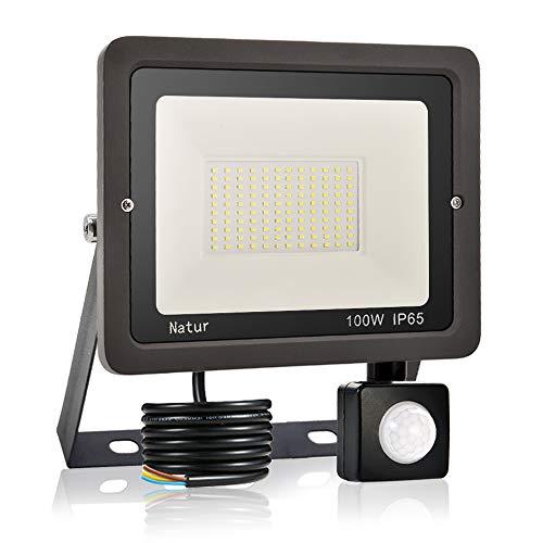 100W Faretto LED da Esterno con Sensore di Movimento,Bianca Fredda 6000K Faretto led da Esterno LED Floodlight, IP65 Impermeabile, per Parcheggio, Ingresso, Corridoio, Garage…