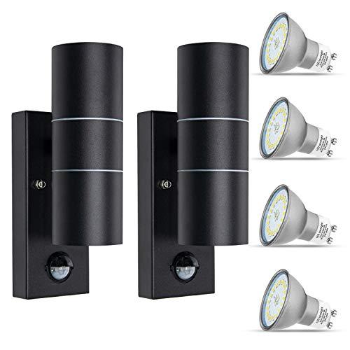 2 lampadine LED per esterni con sensore di movimento IP44, impermeabili, GU10 Up e Down da 230 V, con lampadina da 5 W, bianco caldo