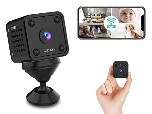 [ 2021 Upgrade ] Microcamere Spia - CUSFLYX 1080P WiFi HD Telecamera di Sorveglianza Rilevazione del Movimento Visione Notturna Bambinaio Casa Sicurezza Telecamera 150°Angolo Ampio per IOS/Android