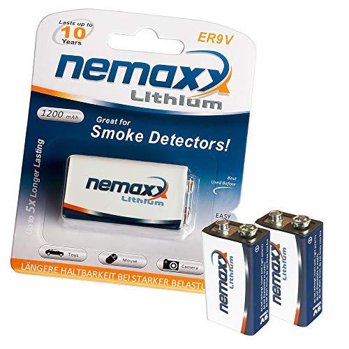 2x Nemaxx batteria al litio Nemaxx da 9V per rilevatori di fumo di 10 anno di durata