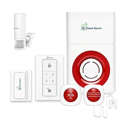 3 in 1 GSM Allarme Casa senza Fili Kit Antifurto Allarme Sirena + Cercapersone di Emergenza Pager Allarme + Sensore d'acqua, Sicurezza Domestica con Sensore di Movimento, Pulsante di Panico