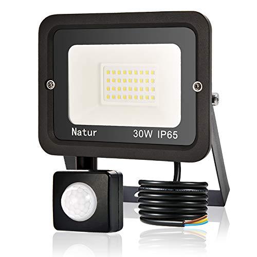 30W Faretto LED da Esterno con Sensore di Movimento, bapro Faro Led Super Luminoso 3000LM, IP65 Impermeabile Proiettore Leds, Bianco Freddo 6000K Faretto Luce Esterna per Parcheggio, Giardino, Cortile