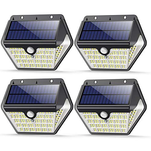 【4 Pezzi】Luce Solare Led Esterno, VOO Faretti Solari a 150 LED da Esterno con Sensore di Movimento, 270ºIlluminazione IP65 Impermeabile,3 Modalità Lampada Solare da Esterno per Giardino,Parete