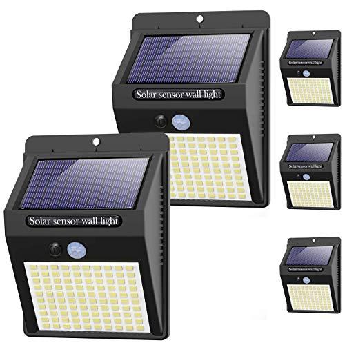 [5 Pezzi] Luce Solare LED Esterno, Kolpop 3 Modalità Lampade Luci Faretti Solari a 100 LED da Esterno con Sensore di Movimento IP65 Impermeabile Wireless Risparmio Energetico Luce per Giardino, Parete