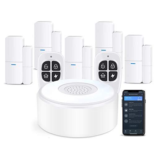 AGSHOME Allarme Casa Senza Fili Antifurto Casa, Kit Antifurto Con 1 Sirena, 5 Sensori Per Porte E Finestre E 2 Telecomandi, Tramite App, Compatibile Con Alexa