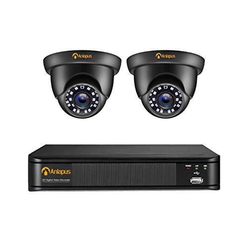 Anlapus 1080P CCTV Kit di Videosorveglianza 4CH 2MP Videoregistratore con 2 Telecamere di Sorveglianza Esterno, senza Disco Rigido, Visione Notturna, Accesso Remoto