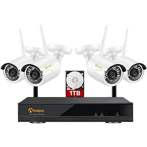 Anlapus 1080P Kit Telecamera Videosorveglianza Wi-Fi Wireless 8CH H.265+ Videoregistrator NVR con 4pcs Telecamera IP Esterno, Visione Notturna, Accesso Remoto, 1TB HDD