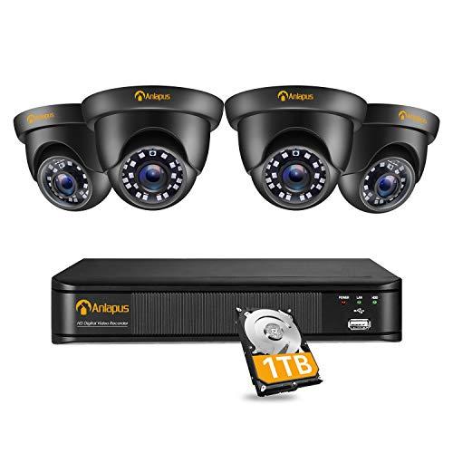Anlapus 1080P Kit Videosorveglianza, 8CH H.265+ Registratore DVR con 4 Telecamere Esterna, 1TB Disco Rigido, IR Visione Notturna, Accesso Remoto