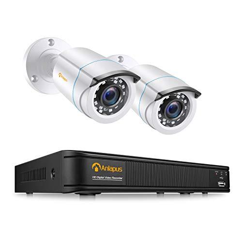 Anlapus 2MP DVR Kit di Sicurezza 4 Canali H.265+ Senza Disco Rigido con 2 Telecamera 1080p Sistema di Videosorveglianza 2MP Bullet, IP66 Impermeabile, 65ft Visione Notturna
