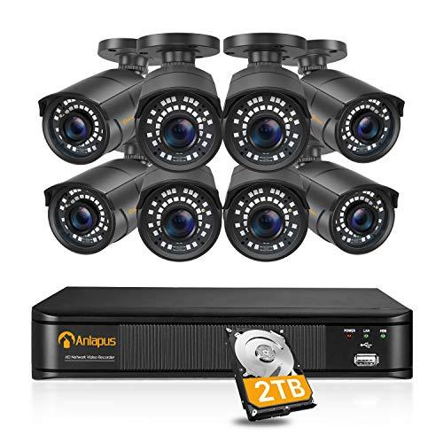 Anlapus 5MP Kit Videosorveglianza PoE 8CH H.265+ Videoregistratori NVR con 8x Telecamere IP PoE Esterno, IR Visione Notturna, Allarme di Movimento, 2TB HDD