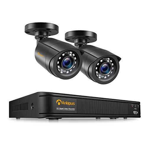 Anlapus DVR Kit Videosorveglianza (4CH 1080P HDMI DVR + 2pcs 2MP Telecamera Esterno), Backup USB, Allarme Email, Sistema di Sicurezza, Hard Disk Non Incluso