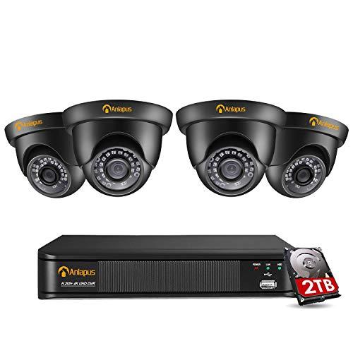 Anlapus Kit di Videosorveglianza 8CH 8MP, 4K 8 Canali H.265 + DVR di Sicurezza con 4 Telecamere da Esterno da 8 Megapixel Rilevatore di Movimento 30M IR Night Vision, HDD 2TB