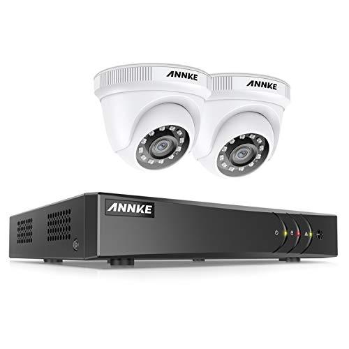 Annke 5MP DVR Kit di sicurezza 4 canali H.265+ senza disco rigido con 2 telecamera 1080P Sistema di videosorveglianza 2MP bullet bianco IP66 impermeabile visione notturna silenzioso