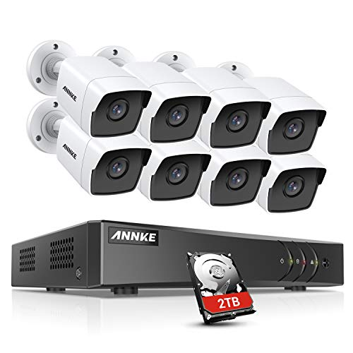 ANNKE 5MP H.265+ DVR Sistema Kit videosorveglianza Ultra HD 8CH+2TB HDD,8 impermeabilità IP67 5MP Bullet Camera di sorveglianza visione notturna fino a 30 m,sensore di moviment