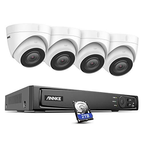 ANNKE C800 Turret PoE 4K Ultra HD Kit di Videosorveglianza Rete 8CH 4K NVR con 2TB Disco Rigido e 4 Telecamere di Sorveglianza Sistema APP Avviso di Accesso Remoto - 2TB HDD