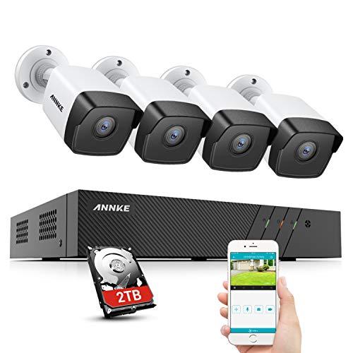 ANNKE POE Kit di Videosorveglianza 8CH 4K HD NVR con 2TB Disco Rigido y 4 Telecamere IP da 5MP H.265+ Visione Notturna 30 m EXIR per Interni ed Esterni Disponibile su Cellulare Browser e PC - 2TB HDD