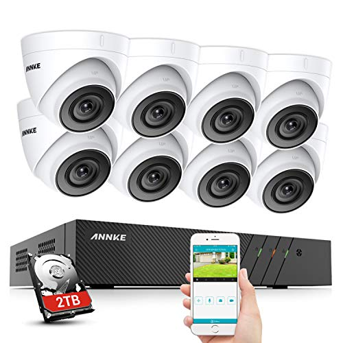ANNKE POE Ultra HD Kit Videosorveglianza 8CH 4K NVR con 2TB Disco Rigido H.265+ 8 5MP IP PoE Sistema di Telecamera Esterno EXIR Visione Notturna -2TB HDD