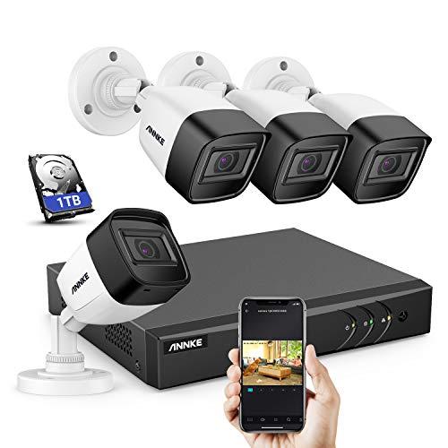ANNKE S300 5MP 8CH DVR kit di sorveglianza H.265+ 5 in 1 ONVIF con HDD 1TB e 4 telecamere di videosorveglianza 5 MP, Bullet con microfono integrato e accesso a distanza interna/esterno