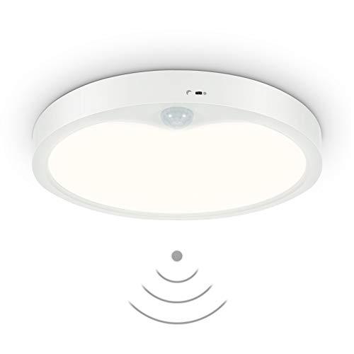 Anten Meldi | Plafoniera LED Lampada da Soffitto per interni con rilevatore di movimento e sensore di luce diurna | Rotonda 18W | 4000K fino a 1800 lumen | Ø 22,5cm | Design piatto
