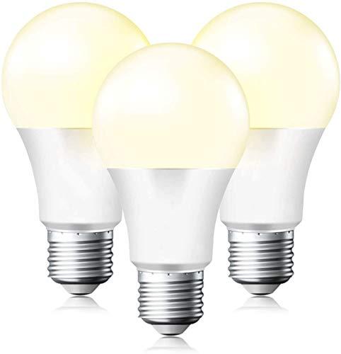 ANTING Lampadina a LED E27 con sensore crepuscolare, 12 W sostituisce 100 W, A19, 1000 lumen, accensione e spegnimento automatico, crepuscolo fino all'alba, 3 pezzi, bianco caldo (2700 K)