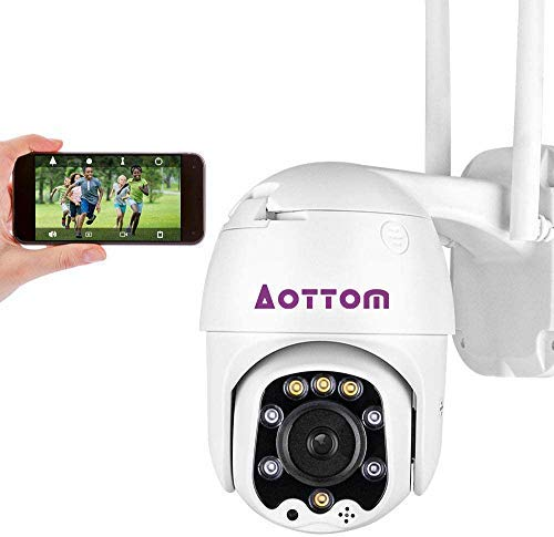 Aottom 1080P Telecamera WiFi Esterno Videocamera IP Camera 2.0MP Onvif, Telecamera P2P Impermeabile Interni ed Esterni, Visione Notturna fino a 40M, Audio a 2 Vie, Motion Detection, Supporta Micro SD