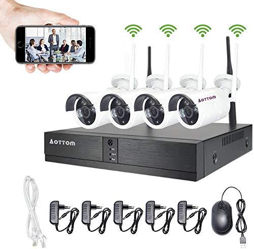 Aottom 4 Canali WiFi Sistemi di Sorveglianza, Telecamere Videosorveglianza WiFi Kit, 4 x 1MP Telecamera WIFI IP + 1X1080P WIFI NVR Senza HDD, Visione Notturna, Motion Detection, P2P, IP66