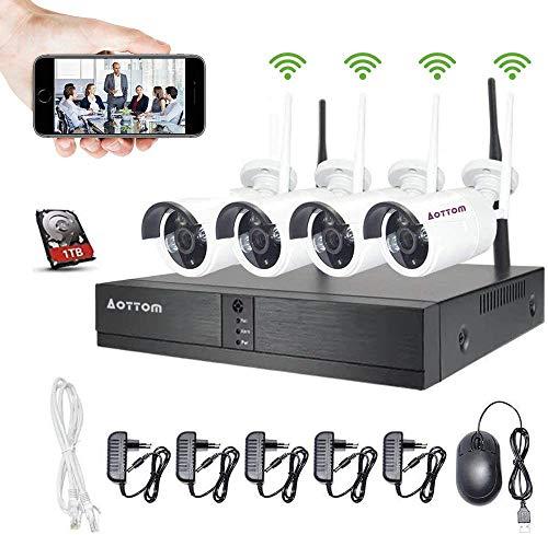 Aottom 8 Canali 1080P Wireless Kit Videosorveglianza WiFi Esterno, Sistemi di Sorveglianza WiFi, 2MP NVR + 4 Telecamere WiFi + 1TB HDD, APP Android/IOS, Visione Notturna, Motion Detection, IP66