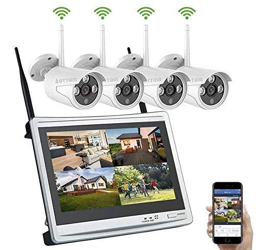 """Aottom Kit Sorveglianza Videosorveglianza Wifi con Monitor LCD 12"""" Sistemi di sorveglianza 1080P 8CH NVR con 4 Telecamere, Plug e Play, Salvaschermo Auto, Motion Detection, Allarme E-mail, No HDD"""