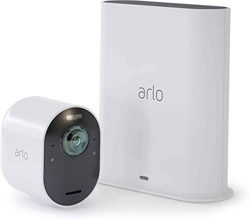 Arlo Telecamera di Sicurezza 4K Wi-Fi Ultra VMS5140, Audio 2 Vie, Visione Notturna, Kit 1 Telecamera IP Senza Fili per Sorveglianza Interno Esterno, Videocamera Compatibile con Alexa/Google/Homekit