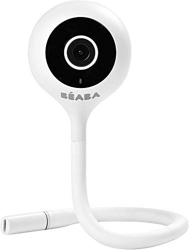 BÉABA - Babyphone Zen Connect, Baby Monitor, Videocamera Full HD 1090p, Walkie-Talkie, Portata Elevata, Connessione Smartphone e Wi-Fi, Ninnananna, Asta Flessibile, Bianco