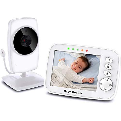 """Baby Monitor Camera 3.2""""LCD Audio Digitale per Bambini Supporta Fino a 4 Telecamere Videocamera Baby phone Audio Bidirezionale Visione Notturna Monitoraggio della Temperatura"""