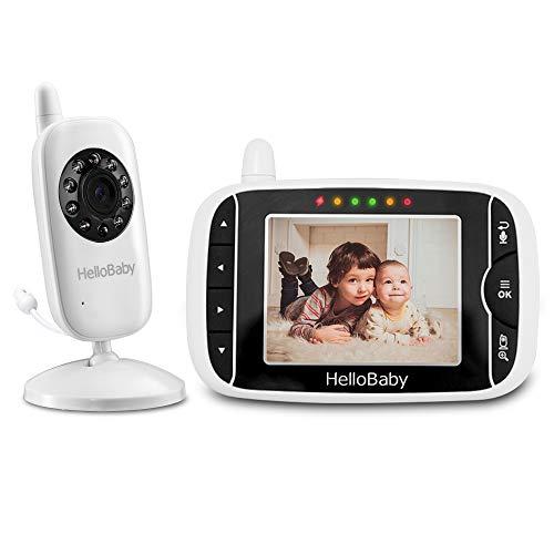 Baby Monitor, HelloBaby HB32 Visione Notturna Monitoraggio della Temperatura e 2 vie Citofono Sistema