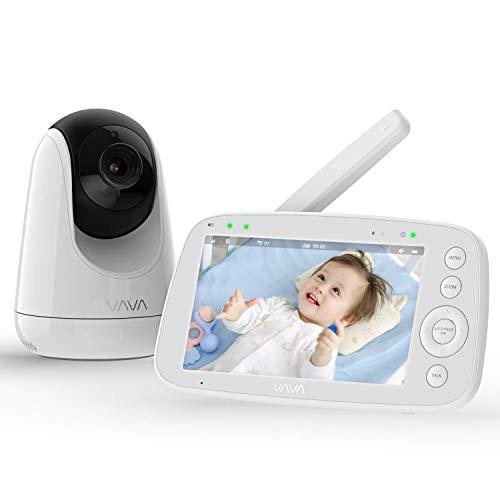 """Baby Monitor, VAVA 720P 5""""Monitor video HD con videocamera e audio, Schermo IPS, Portata 900 piedi, Batteria 4500 mAh, Audio bidirezionale, Zoom con un clic, Visione notturna e Monitor termico"""
