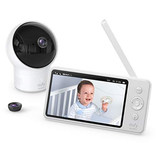 Baby monitor, video baby monitor di sicurezza SpaceView eufy, ideale per nuovi genitori, display LCD 5, lenti grandangolo 110° incluse, risoluzione HD a 720p, visione notturna, batteria lunga durata