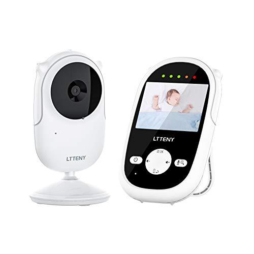 """Baby monitor,Ltteny Videocamera con VOX Notturna Visione di Temperatura, 4 Ninne Nanne, Audio bidirezionale,Attivazione Vocale, Telecamere 950mAh Batteria con Schermo da 2.4"""" LCD"""