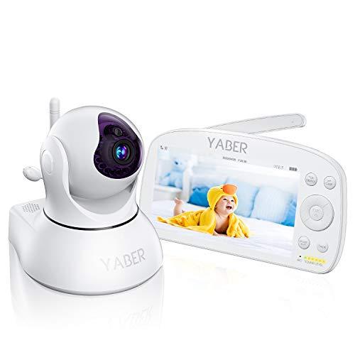 """Baby Monitor,YABER 1920 * 1080P 5.5""""oversize Monitor video HD con videocamera e audio,Portata 1000 piedi,Batteria 5000 mAh,Audio bidirezionale,Visione notturna e Monitor termico,Può ruotare di 355°"""