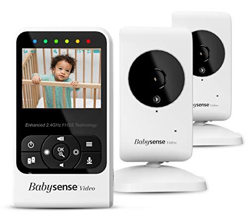 """Babysense Baby monitor video con videocamera e audio, display da 2,4 """", fornito con due videocamere, ninne nanne e rumore bianco, modello V24R_2"""