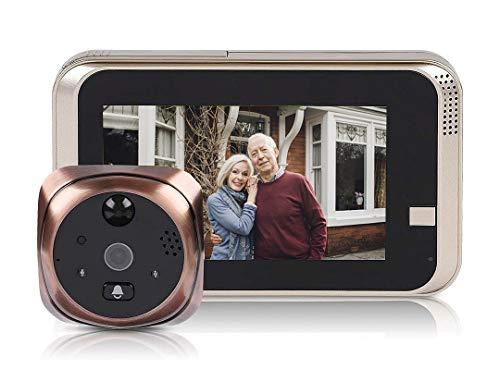 Bewinner Wireless Video Campanello 4.3inch 720P HD Telecamera di Sicurezza 166 ° Wide-Angel con Visione Notturna Motion Detection WiFi Smart Peephole Viewer Campanello per la Sicurezza Domestica