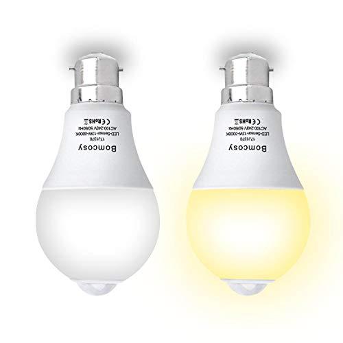 Bomcosy Lampadina LED B22 con Sensore di Movimento Sensore Crepuscolare 13W (Pari a 100W) Bianco Freddo 6000K 230V per Corridoio Portico Garage Cantina 2 Pezzi