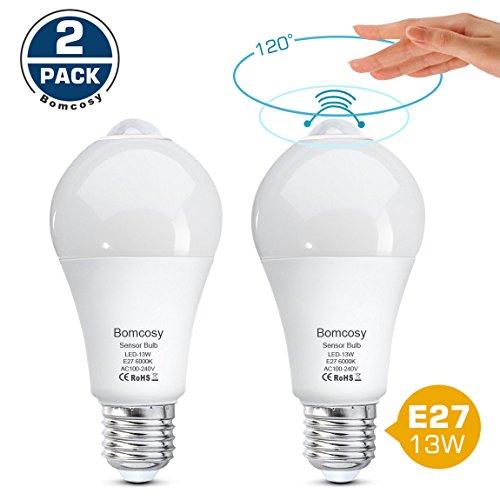 Bomcosy Lampadina LED E27 13W Bianco freddo 6000K Equivalente a 100 Watt Sensore di Movimento Accensione e Spegnimento Automatico per Corridoio Portico Garage Confezione da 2