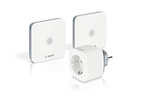 Bosch Smart Home 8750001345 Pacchetto Sicurezza Rilevatore Perdite d'Acqua Funzione (Selezione Rapida della Chiamata d'emergenza nell'app, Antiscivolo, Compatto, Estensione del Segnale Radio)