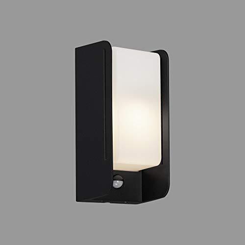 Briloner Leuchten - Lampada LED per esterni, lampada da parete esterna con sensore di movimento, sensore crepuscolare, IP44, 1 x E27, max. 12 Watt, bianco/nero, 255 x 120 x 100 mm (L x P x A)