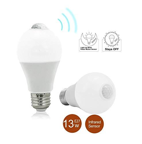 BRTLX E27 Lampadina LED con Sensore Lampadine A60 13W Bianco Freddo 6000K Automatico On/Off per Veranda Garage Corridoio 2 Pezzis[Classe di Efficienza Energetica A+]