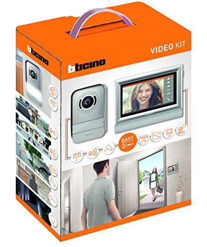 """BTicino 317113 Kit Videocitofono 2 Fili Touchscreen 7"""" Mono/Bifamigliare, Grigio"""