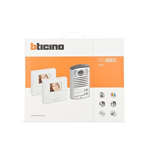 BTicino 365521 Kit Vivavoce Videocitofono Classe 100V12B e Pulsantiera Linea 2000, Bifamiliare