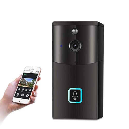Campanello video, campanello senza fili WIFI HD 720P con rilevamento di movimento PIR video wireless funzione di memorizzazione automatica sensore di movimento audio bidirezionale (Campanello nero)