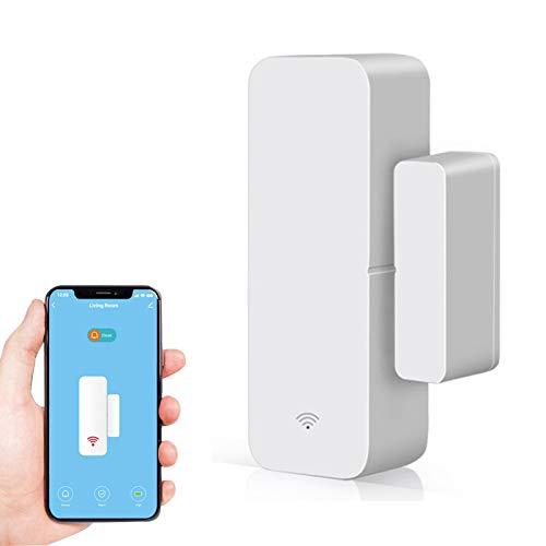 CYCON Sensore per porta finestra intelligente, Connessione senza fili, allarme antifurto magnetico, rilevatore di porte aperte o chiuse, funziona con Alexa Google Home