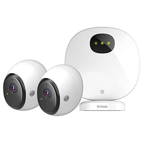 D-Link DCS-2802KT-EU Kit Telecamere di Sicurezza Wifi, Alimentate a Batteria, HD, Visione Notturna, 2 Telecamere, Funziona con Alexa